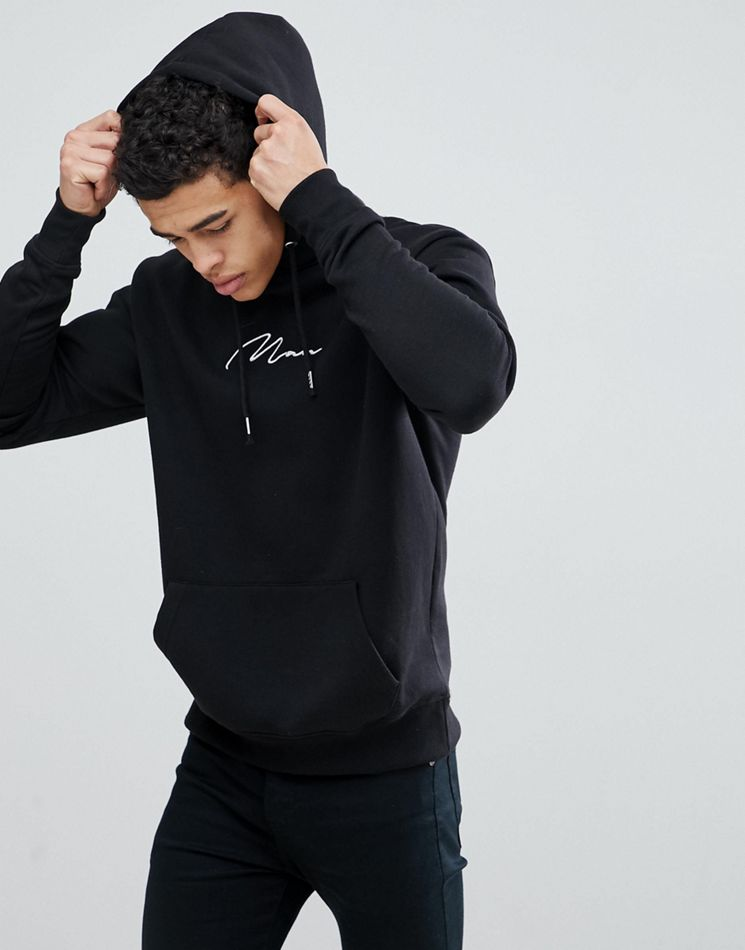 b5da902267 BoohooMAN Hoodie With Man Embroidery In Black – Shophistic